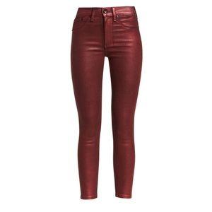 Rag & Bone High Rise Coated Metallic Skinny Jeans